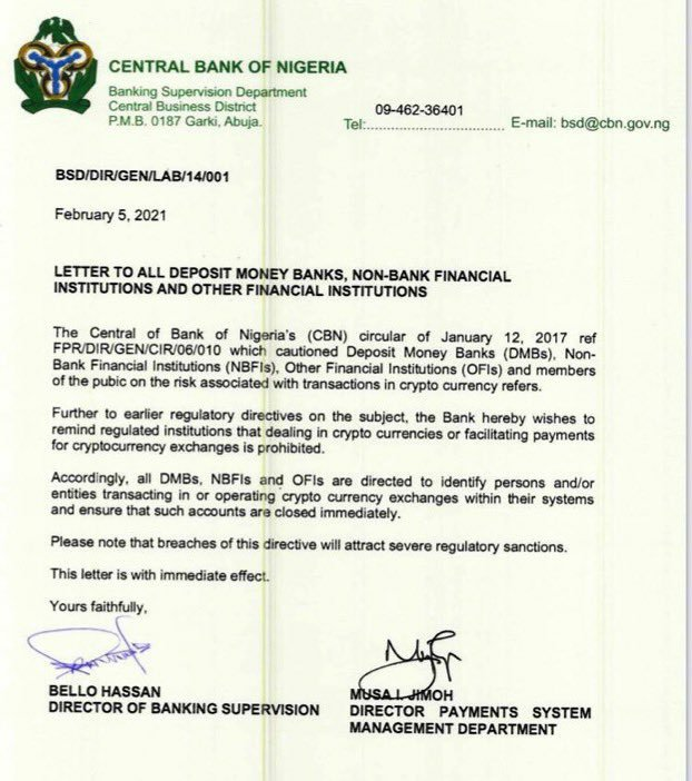 See How Everyone is Reacting to CBN's Ban on Cryptocurrency Exchange in Nigeria 1