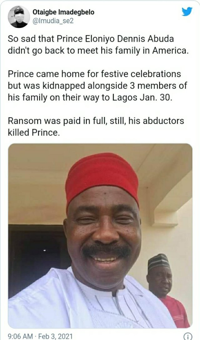 Kidnapped Edo prince Eloniyo Dennis Abuda reportedly found dead after N10m was paid as ransome 2