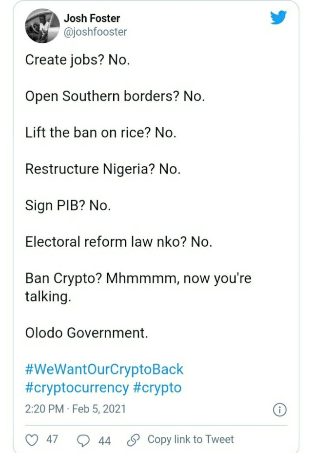 See How Everyone is Reacting to CBN's Ban on Cryptocurrency Exchange in Nigeria 3