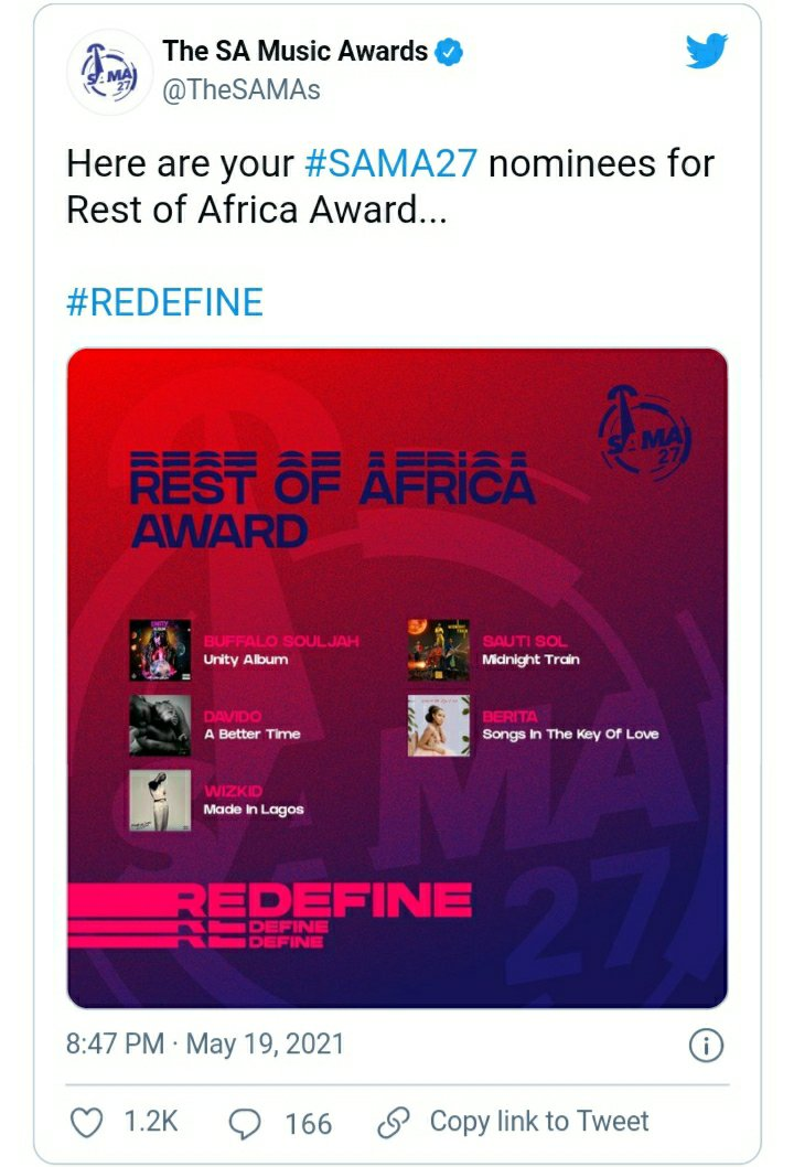 screenshot 20210520 143224 uc browser8578495876255070499. - Davido & Wizkid nominated for South African Music Awards | #SAMA27