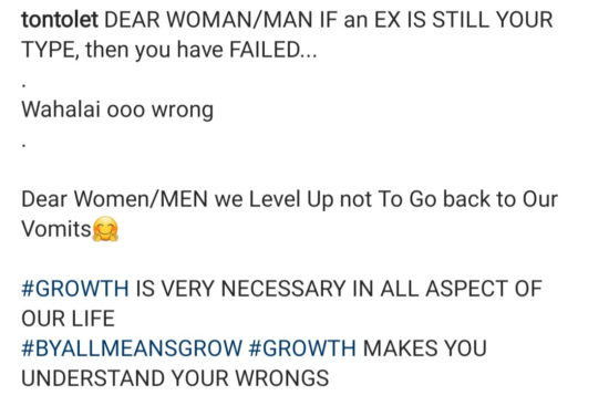 """""""We do not go back to our vomit """" Tonto Dikeh writes as she says you have """"failed"""" if your ex is still your type 2"""