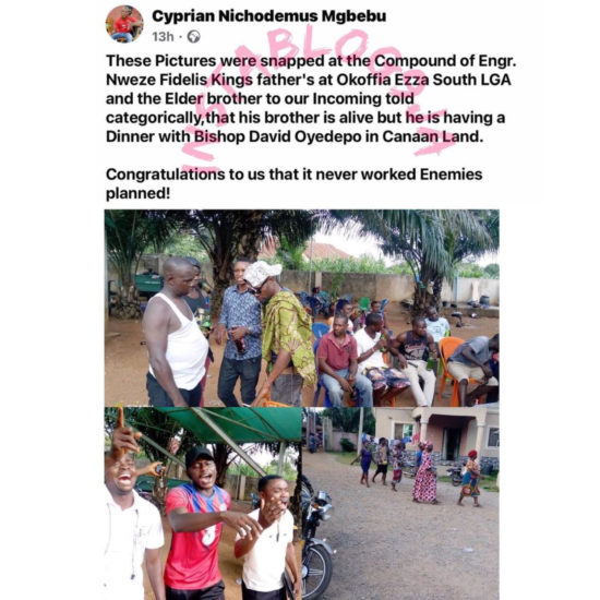 """Massive Jubilation As Late Ebonyi Commissioner Allegedly """"Rises From The Dead"""""""
