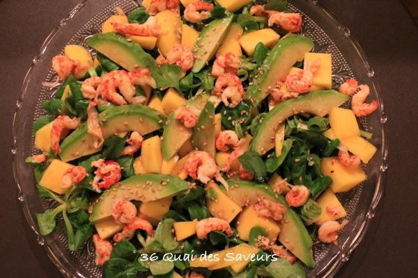 salade mangue avocat ecrevisse sauce soja sésame
