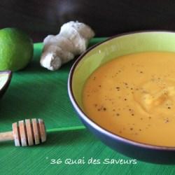 velouté patates douces miel gingembre et citron vert