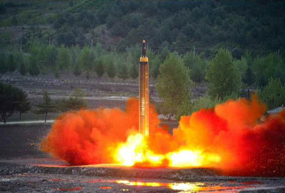 North Korea tests its Hwasong-12 ballistic missile on May 14, 2017. Photo: Rodong Sinmun.