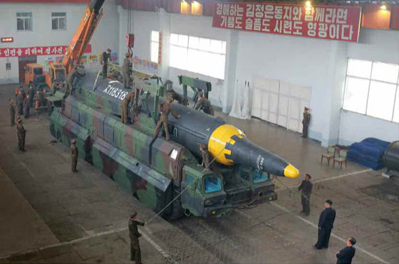 North Korea's Hwasong-12 missile, prior to being tested on May 14. Photo: Rodong Sinmun.
