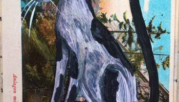 Black Cat Sleeping in the Sun Acrylic Painting on Vintage