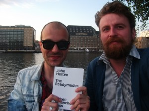 Darko Dragicevic and John Holten (with a reader advance copy of The Readymades) in Berlin, summer 2011