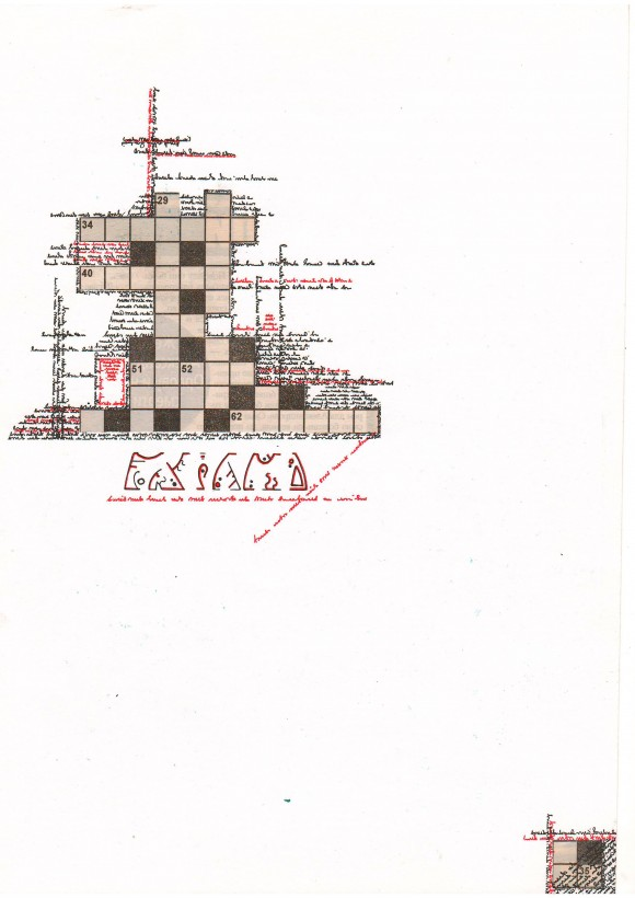 crossword3_2013_A4 paper, newspaper, gel pen, collage