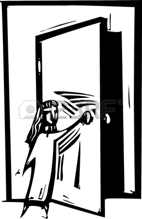21678653-woodcut-style-expressionist-image-of-a-girl-opening-a-door