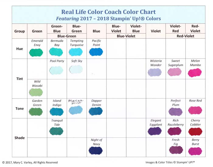 2017-2018 Color Charts: Green to Red-Violet - Visit http://www.3amstamper.com