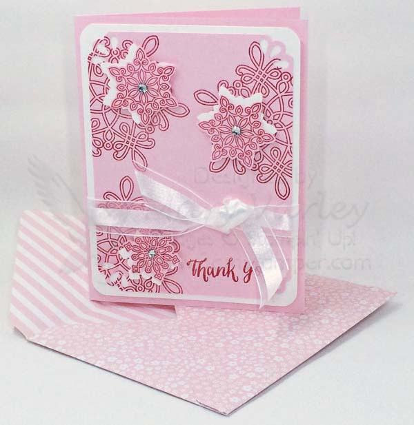 Pink Pirouette Snowflake Thank You Card - Visit http://www.3amstamper.com