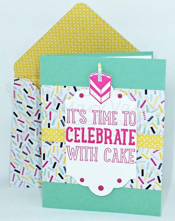 Trendy Celebrate with Cake Birthday Card - Visit http://www.3amstamper.com
