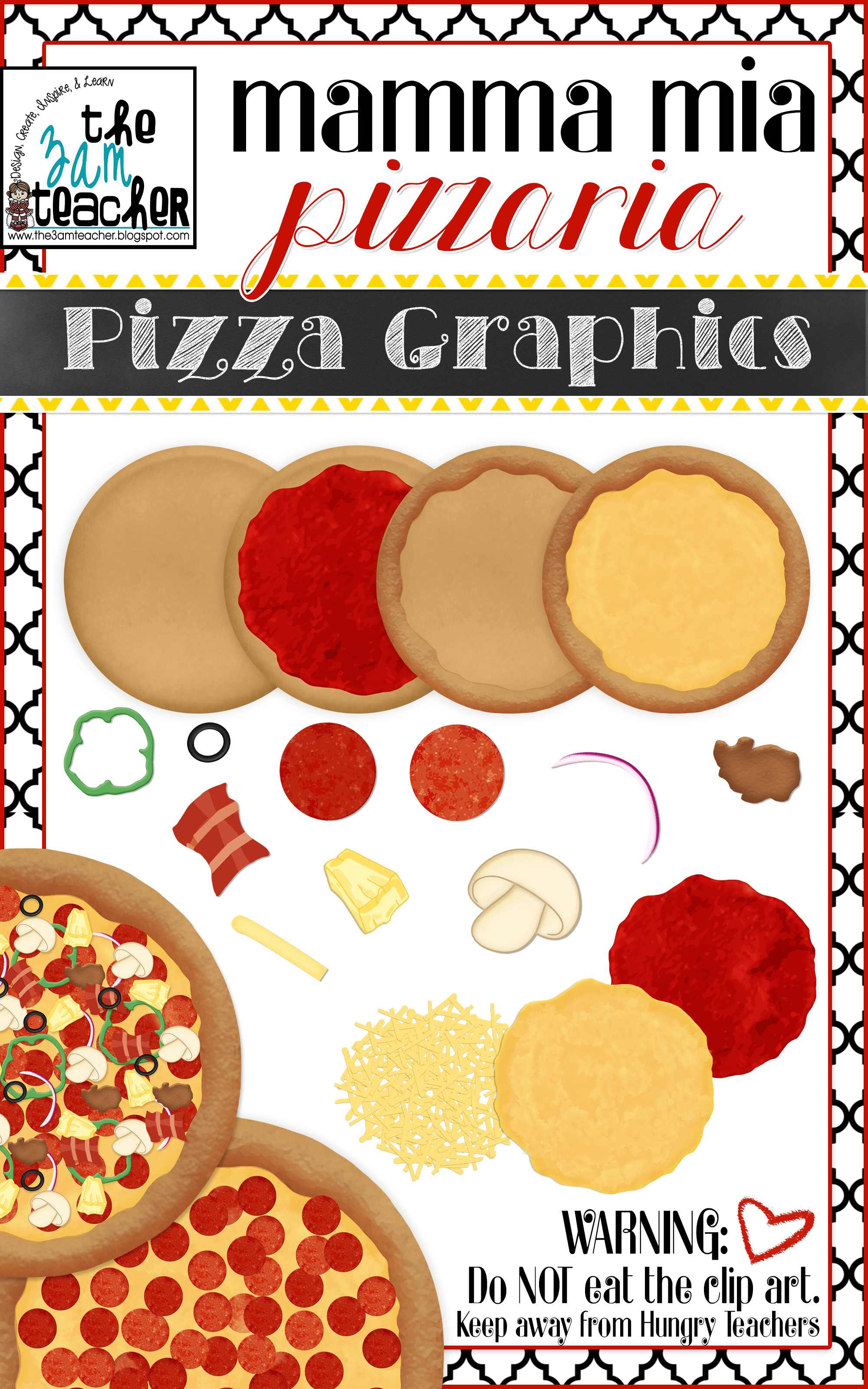 Custom Pizza Graphics Clipart Collection