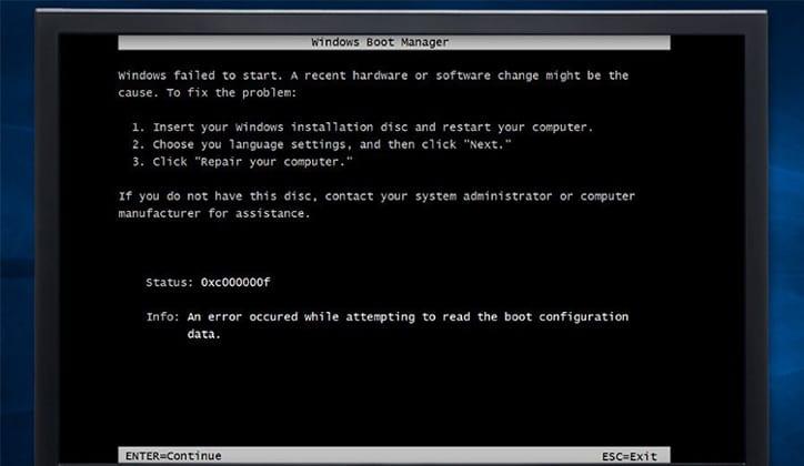 كيفية حل مشكلة ظهور رسالة Error 0xc00000f عند تثبيت ويندوز