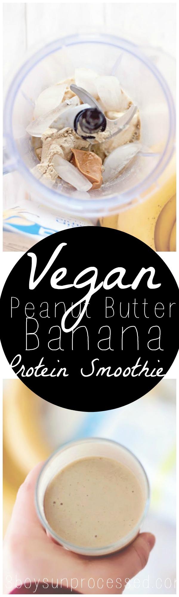 Vegan Peanut Butter Banana Protein Smoothie