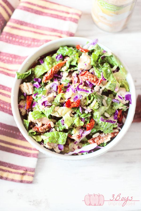 Sun Dried Tomato and Feta Chopped Salad || www.3boysunprocessed.com