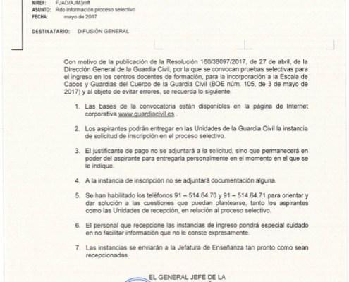 Aclaración instancia Guardia Civil oposicion