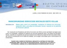 Oposiciones-educador-social-Cantabria-mancomunidad-siete-villas Tecnico Superior Educacion Infantil Cantabria