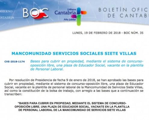 Oposiciones educador social Cantabria mancomunidad siete villas