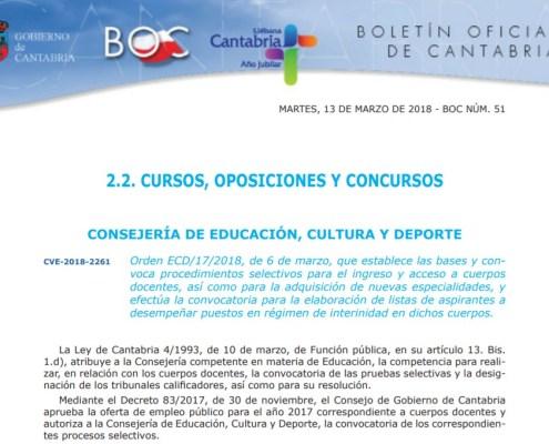 Convocadas oposiciones Secundaria 2018 Cantabria