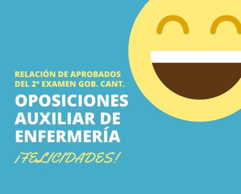 Aprobados Segundo Examen Oposiciones Auxiliar Enfermeria Cantabria