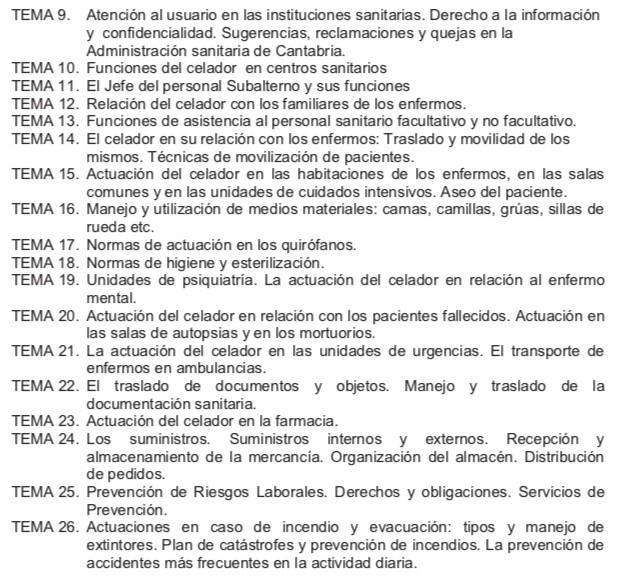 Temario-Celador-SCS-2 Lista definitiva admitidos oposiciones Celador SCS