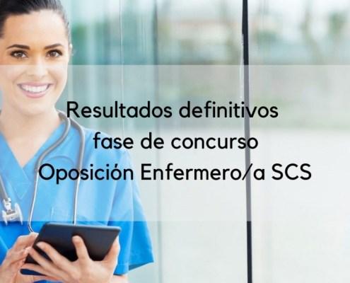 Resultado definitivos fase concurso oposiciones Enfermera SCS