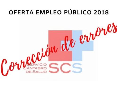 Correccion errores Oferta Empleo Publico 2018 SCS