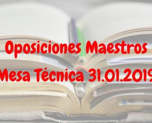Mesa tecnica 31 Enero oposiciones maestros Cantabria 2019