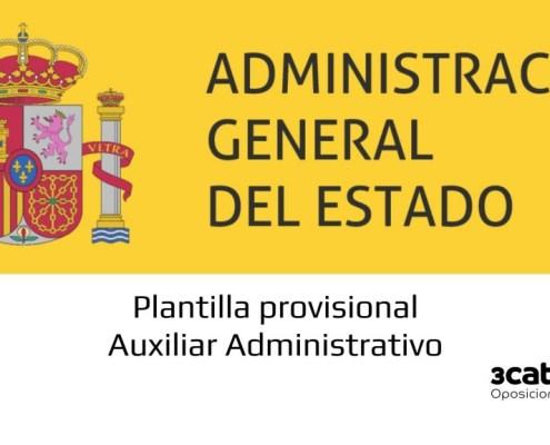 Plantilla provisional examen Auxiliar Administrativo Estado General Estado 2019