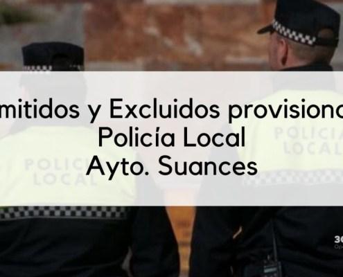 Lista provisional admitidos Policia Local Suances 2020