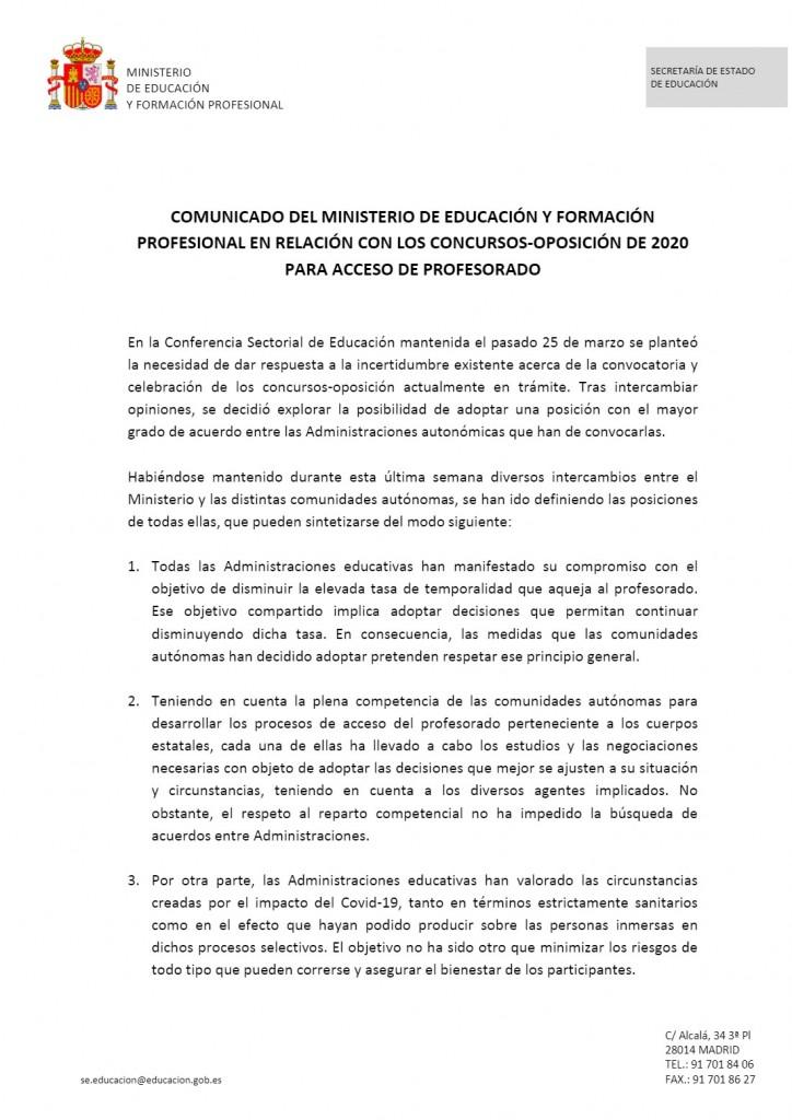 Comunicado-Ministerio-Educacion-Oposiciones-2020 Comunicado Ministerio Educacion Oposiciones 2020