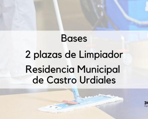 Bases que van a regir el proceso de selección de 2 plazas oposiciones limpieza Castros