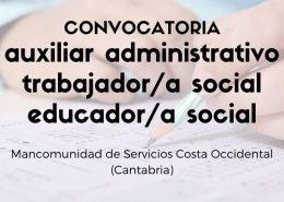 Convocatoria-oposiciones-Mancomunidad-Servicios-Costa-Occidental-Cantabria-1 Oposiciones Administrativo en la Oferta empleo publico 2017 de Medio Cudeyo Cantabria