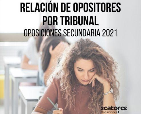 Relacion opositores por tribunal secundaria Cantabria 2021