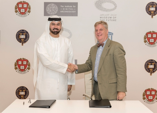 HE Mohammed Al Gergawi , Vice Chairman of Dubai Museum Of The Future Foundation and Roger Michael , Executive Director Of The Institute Of the Digital Archaeology (PRNewsFoto/Dubai Museum of the Future)
