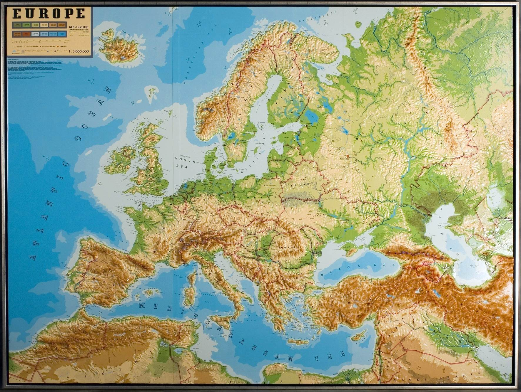 Relief Map Europe Rollable As 3d Map