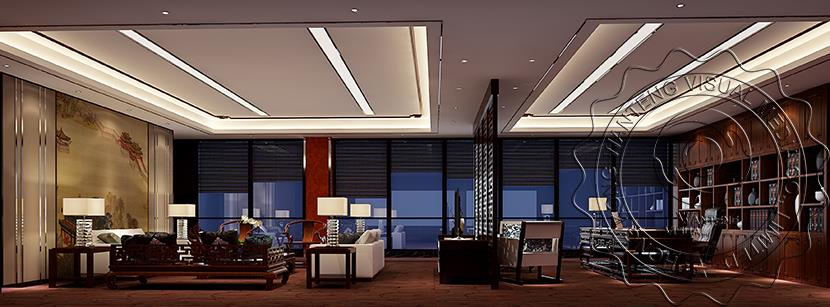 General Manager Office Rendering Designchinese Style Office Interior Rendering Design3D