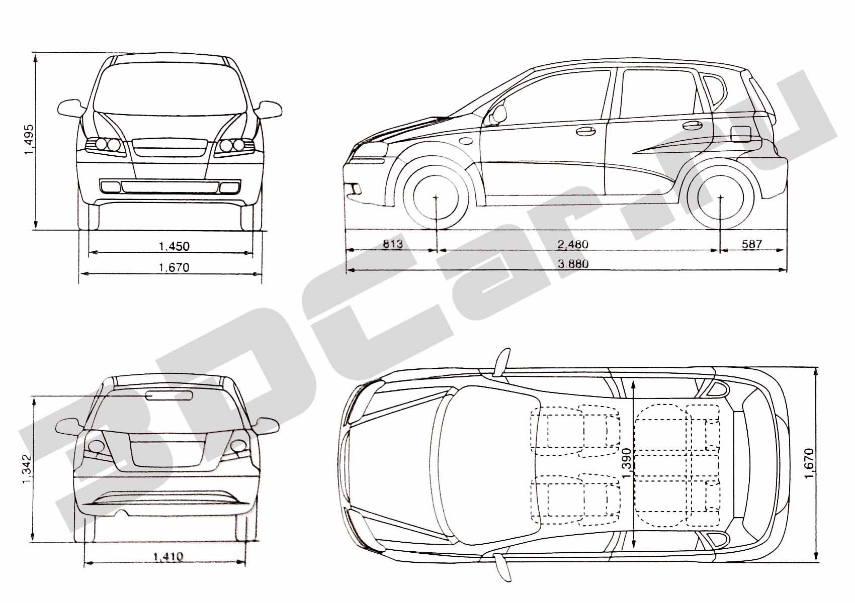 Daewoo Kalos Hatchback 3dcar