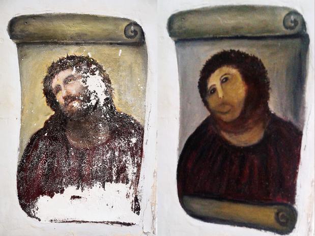 Montagem mostra a obra original e a versão restaurada por Gimenez (dir.) Foto: AP