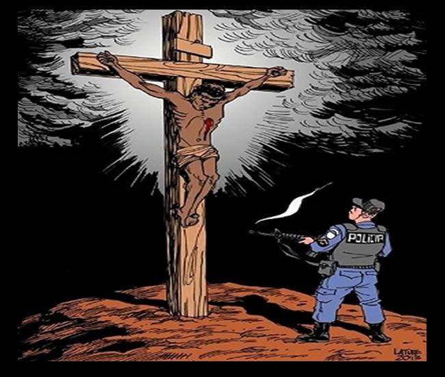 """Quadro com PM atirando em negro crucificado recebe """"asilo artístico"""" no TJ-RJ após solicitação do deputado estadual Flávio Bolsonaro (PP) encaminhada à presidente do TJ, a desembargadora Leila Mariano. A imagem, criada pelo cartunista Carlos Latuff, mostra um policial fardado atirando contra um homem negro crucificado"""