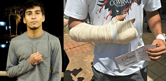 Carlos Bergson ainda se recupera do tiro que levou na mão. Jovem fez questão de fazer as provas do Enem (Foto: Arquivo Pessoal)