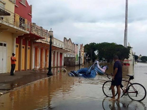 Rambo luta contra uma sucuri durante a enchente no Acre (Foto: Reprodução Facebook)