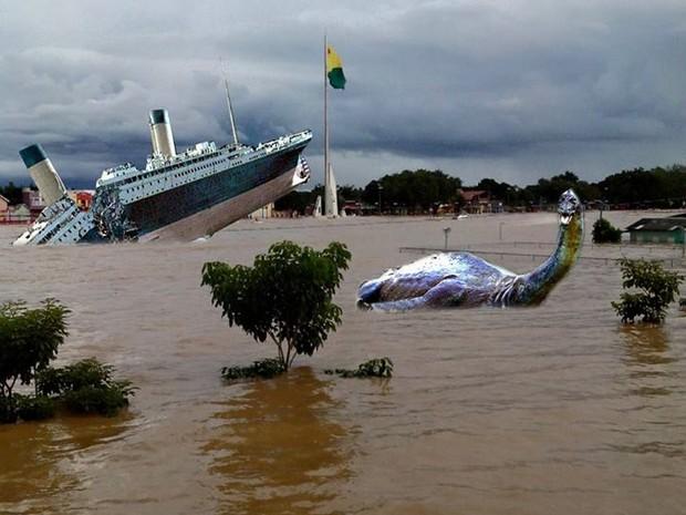 Internautas fazem montagens com fotos de enchente histórica no Acre (Foto: Reprodução Facebook)