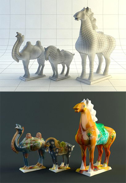 Tang Dynasty Pottery Horse 3D Model Including Materials