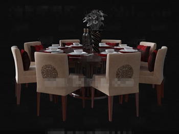 Chinese Style Wooden Round Dining Table 3D Model Download