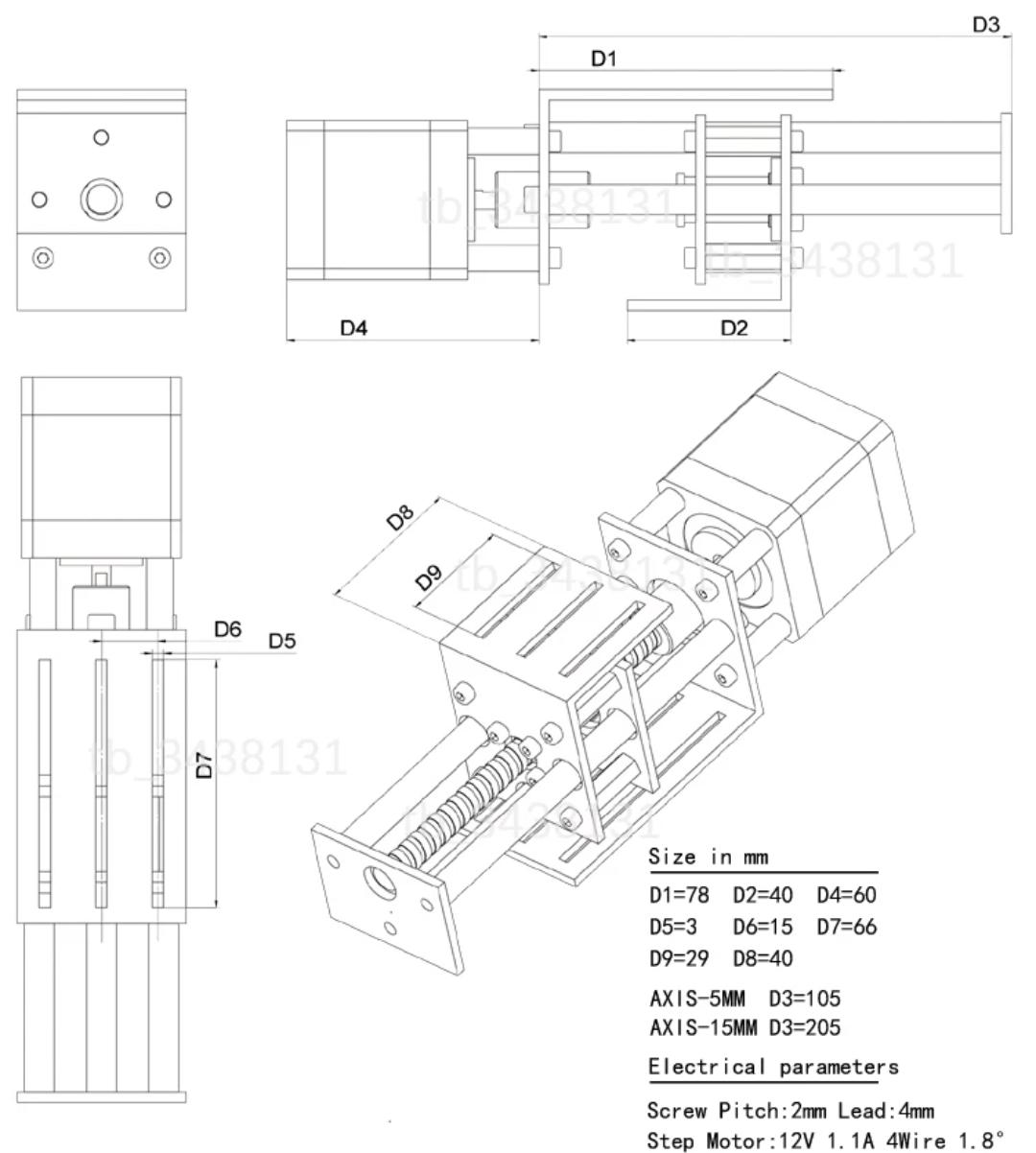 12v diy cnc 3 axis engraving machine z axis slide milling linear motion  60mm 3dpmav