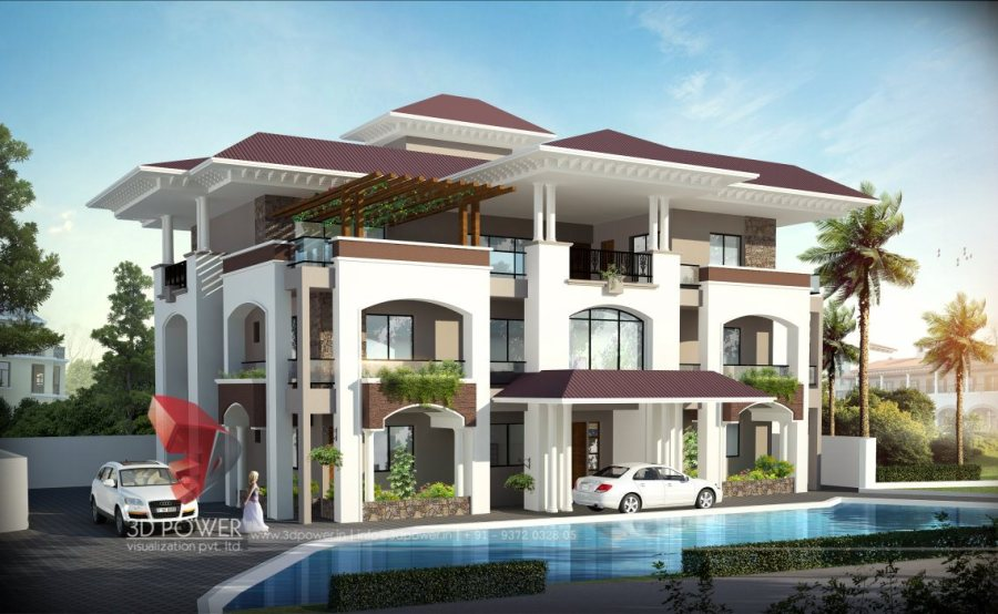 3D Home Designs   3D Home Design Planner   3D Power villa rendering visualization 3D Architectural villa Elevation