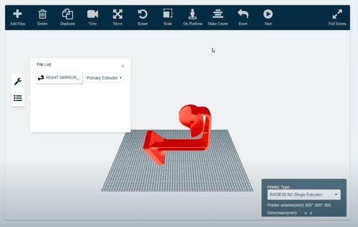 View of setting up a 3D print job in RaiseCloud [Source: Raise3D]
